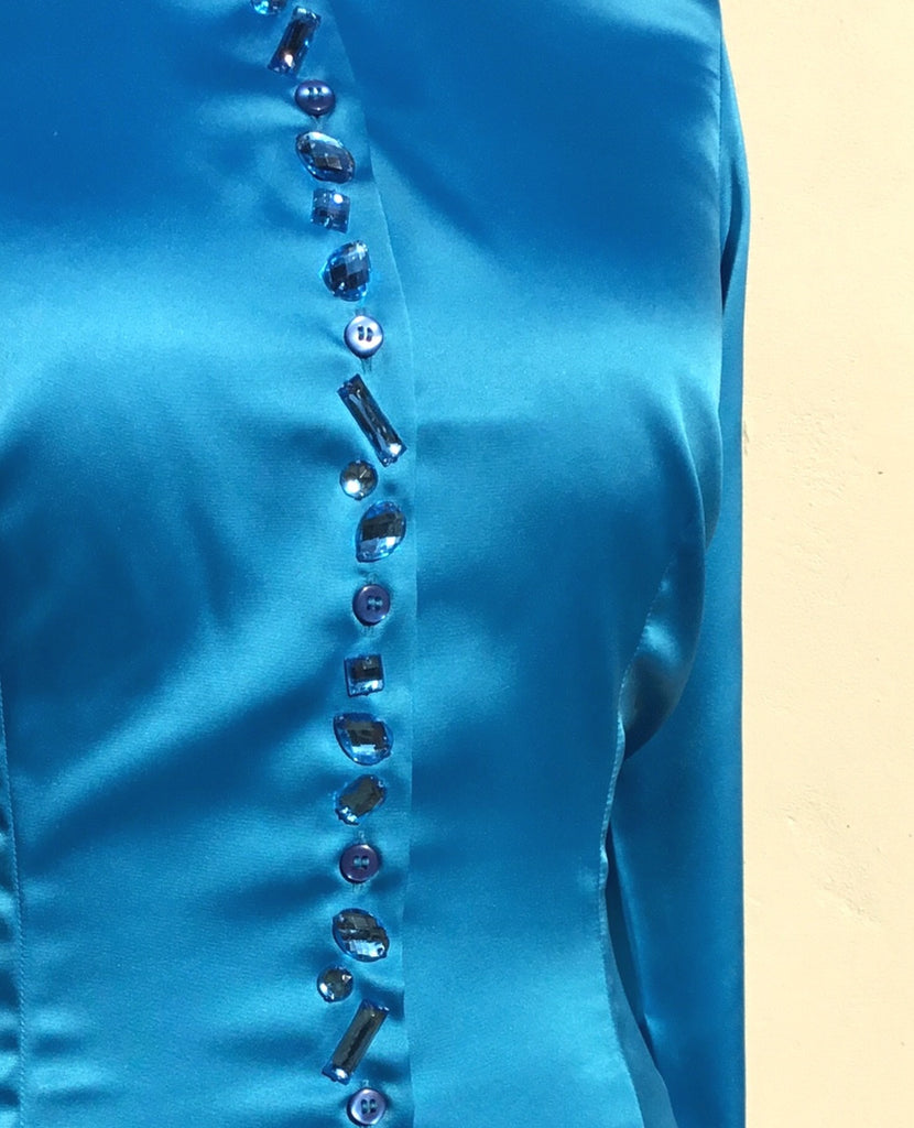 JEWELLERED BLUE SATIN SHIRT - SINGLE CUFF