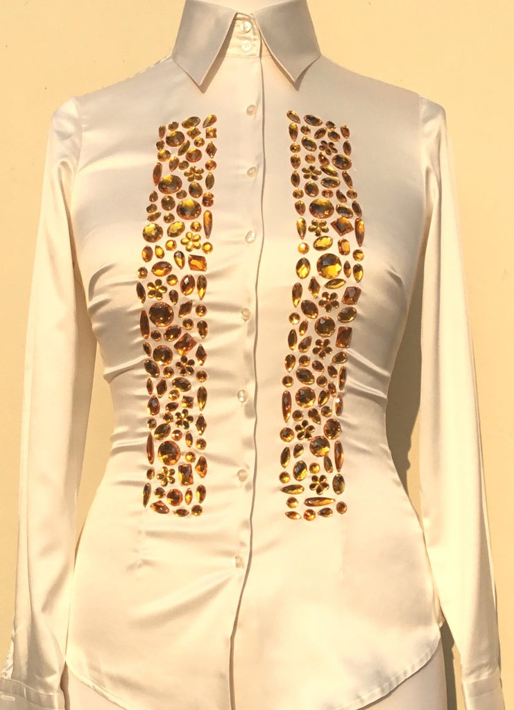 JEWELLERED CREAM SATIN SHIRT - DOUBLE CUFF