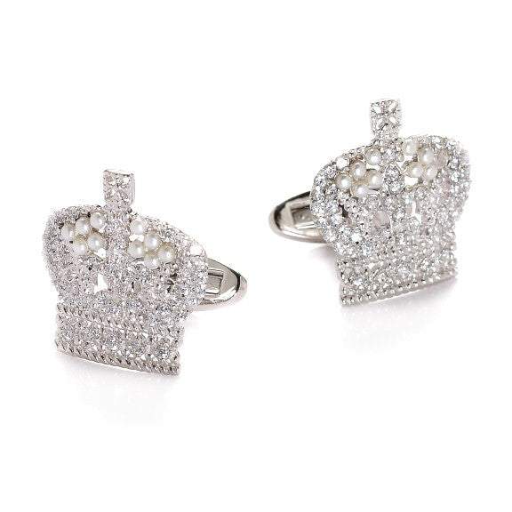 Crown silver cufflinks