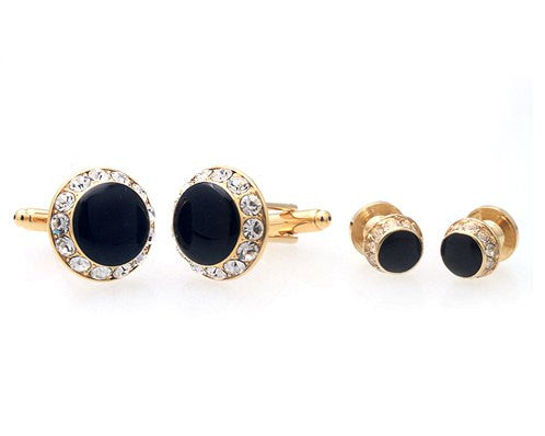 GOLD BLACK STONE ROUNDED CUFFLINKS & STUDS