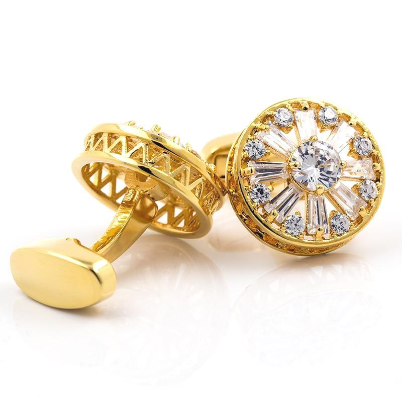 WHITE AND BLUE GOLD CRYSTAL CUFFLINKS