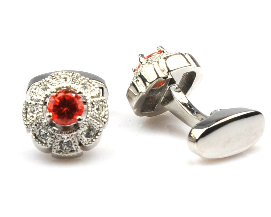 Coral Crystal Flower Shape Cufflinks
