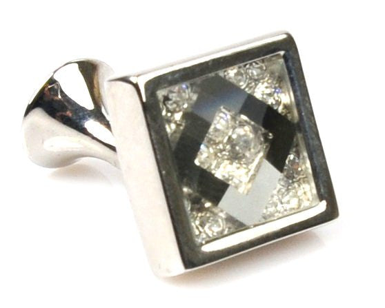 Crystal Platinum Plated grey cufflinks