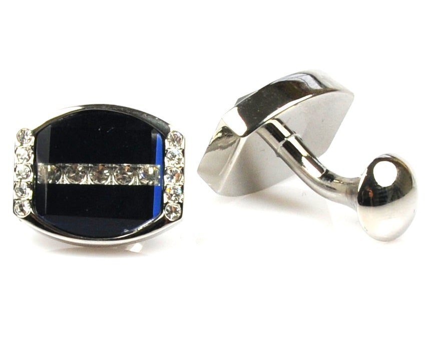 Crystal Platinum Plated blue cufflinks