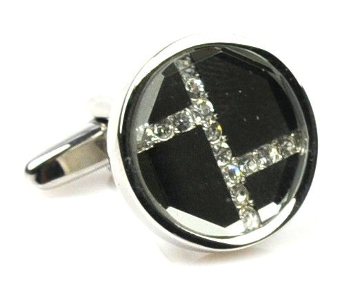 Rhinestone Platinum Plated grey cufflinks