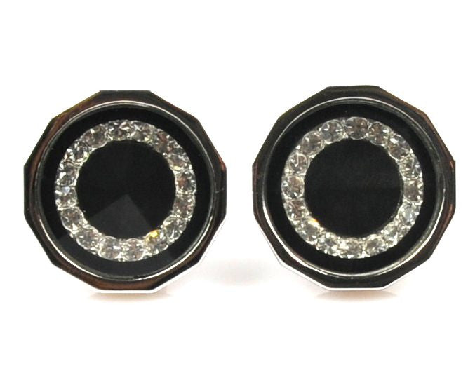 Rhinestone Platinum Plated black cufflinks