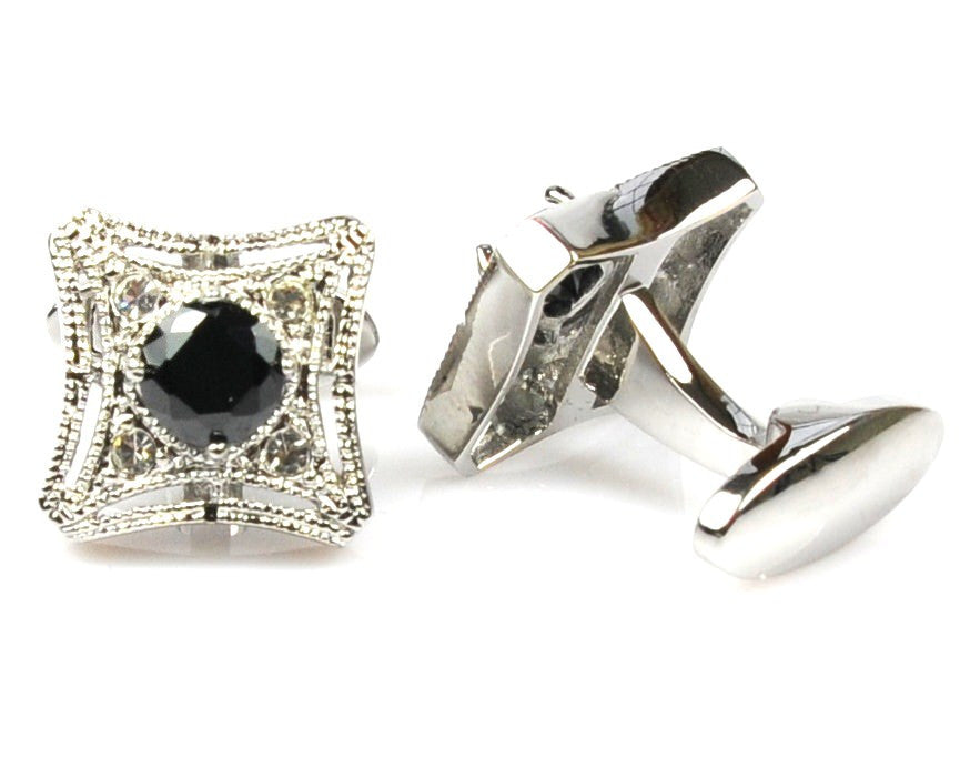 Exquisite Black Crystal Cufflinks
