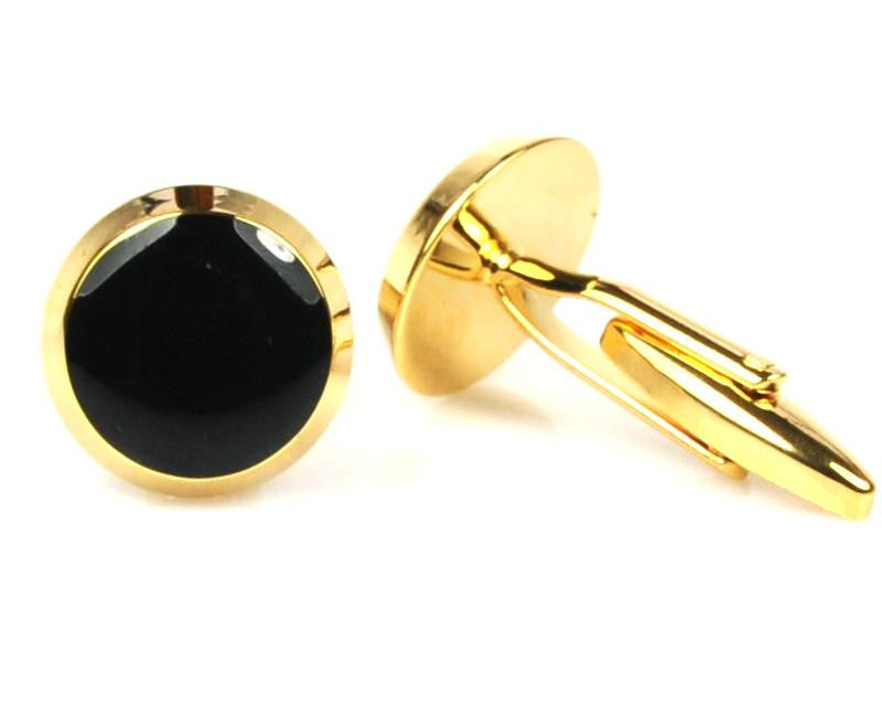 Round Black & Gold Cufflinks