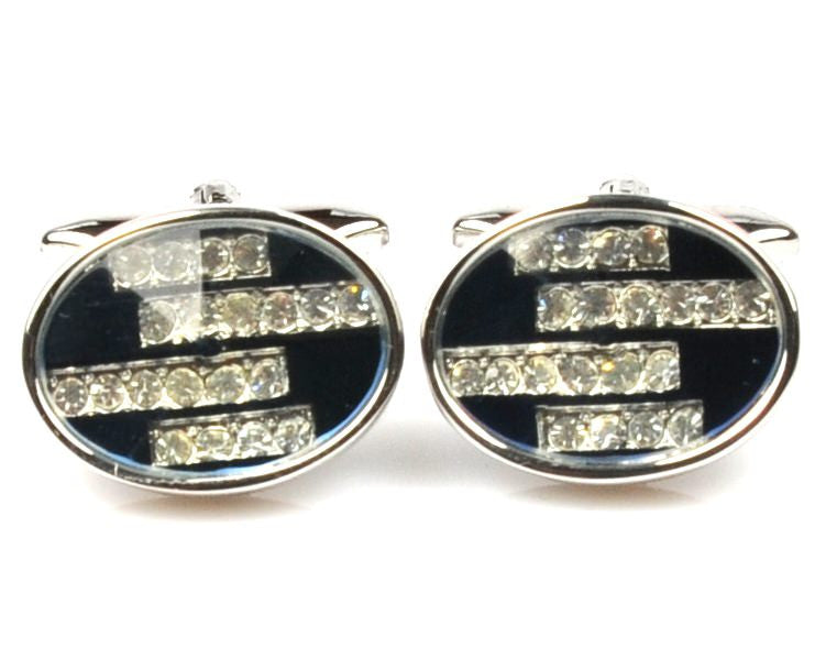 Crystal Blue Platinum Plated cufflinks