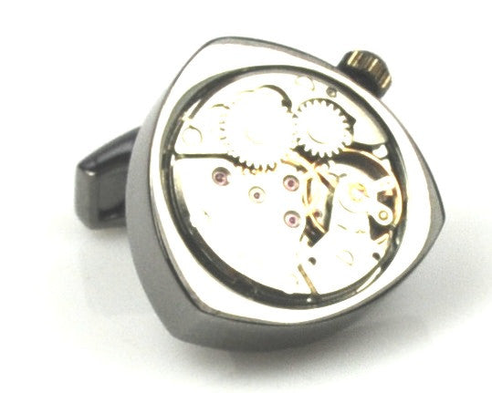 Steampunk Triangle Watch Movement Cufflinks