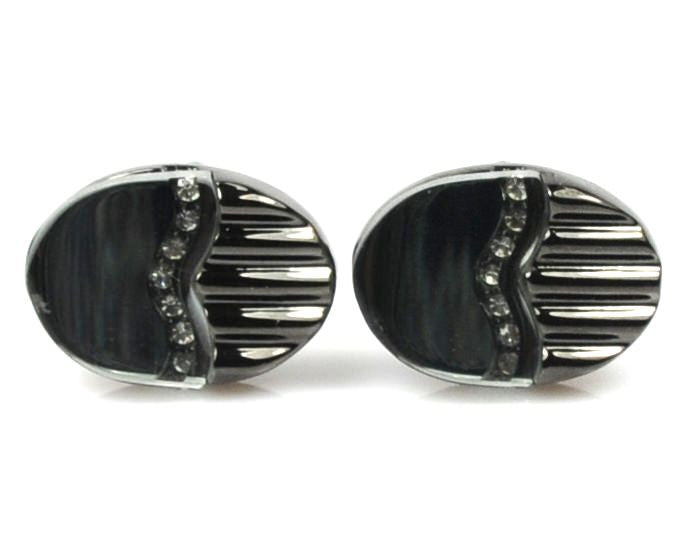 GREY CUFFLINKS WITH CRYSTALS