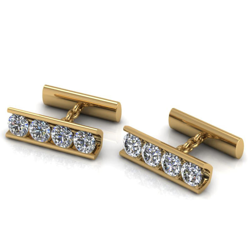 yellow & white gold diamond cufflinks