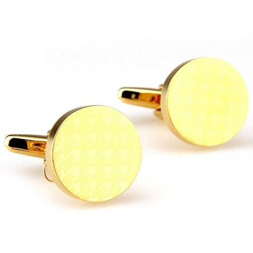 Locket Round light-gold cufflinks