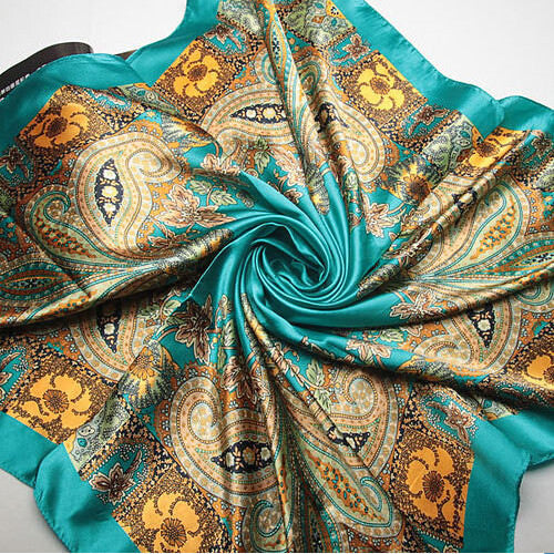 Sky blue 90x90cm Imitated Silk Square Scarf