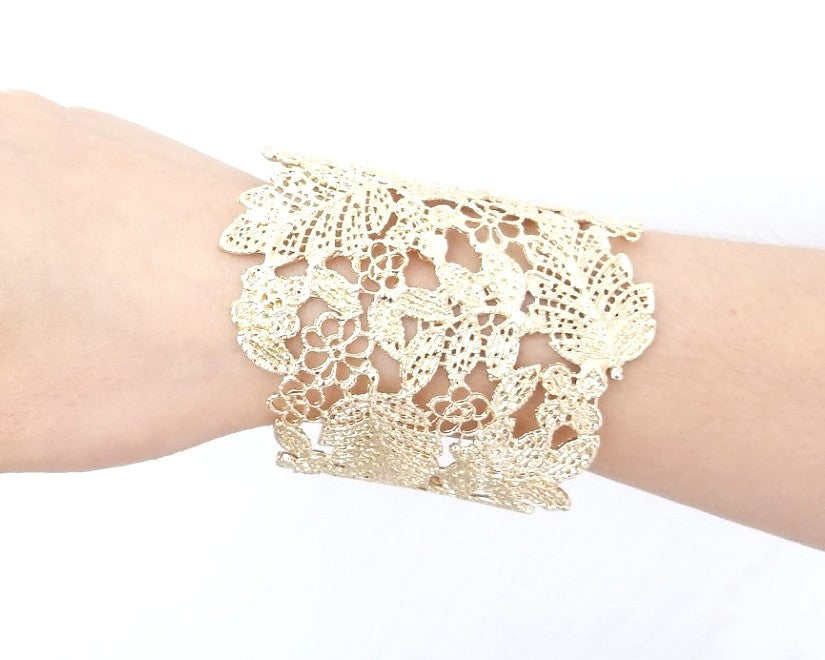Gold Flower Lace Bracelet, Bangle