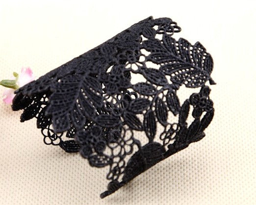 Black Flower Lace Bracelet, Bangle
