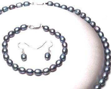Black Small Rice Pearl Jewellery Set