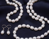 White Small Rice Pearl Jewellery Set