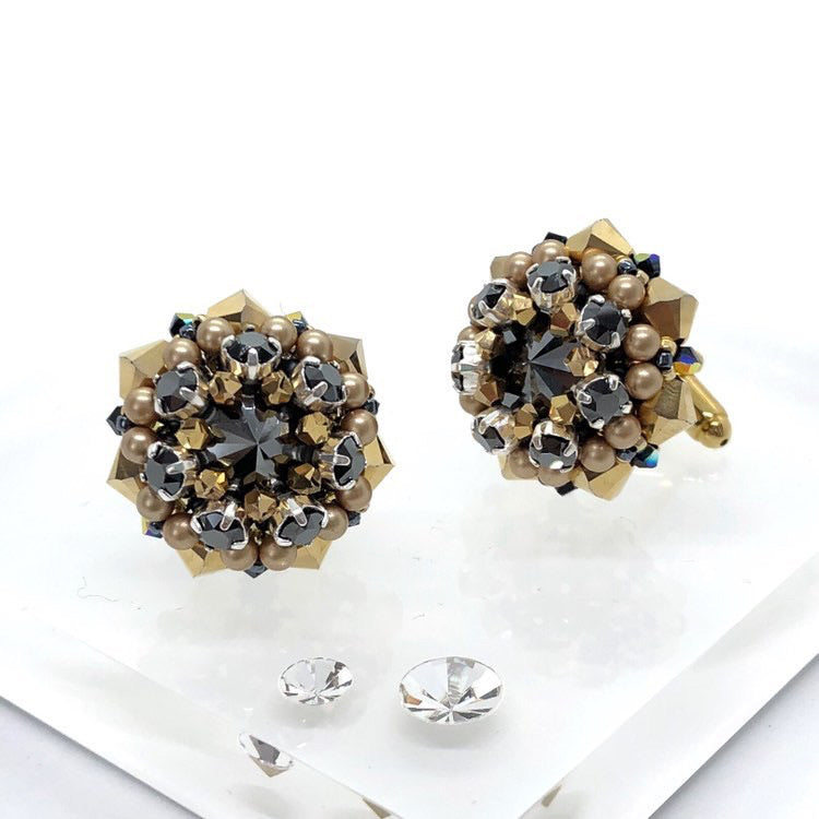Unique handmade swarovski gold cufflinks