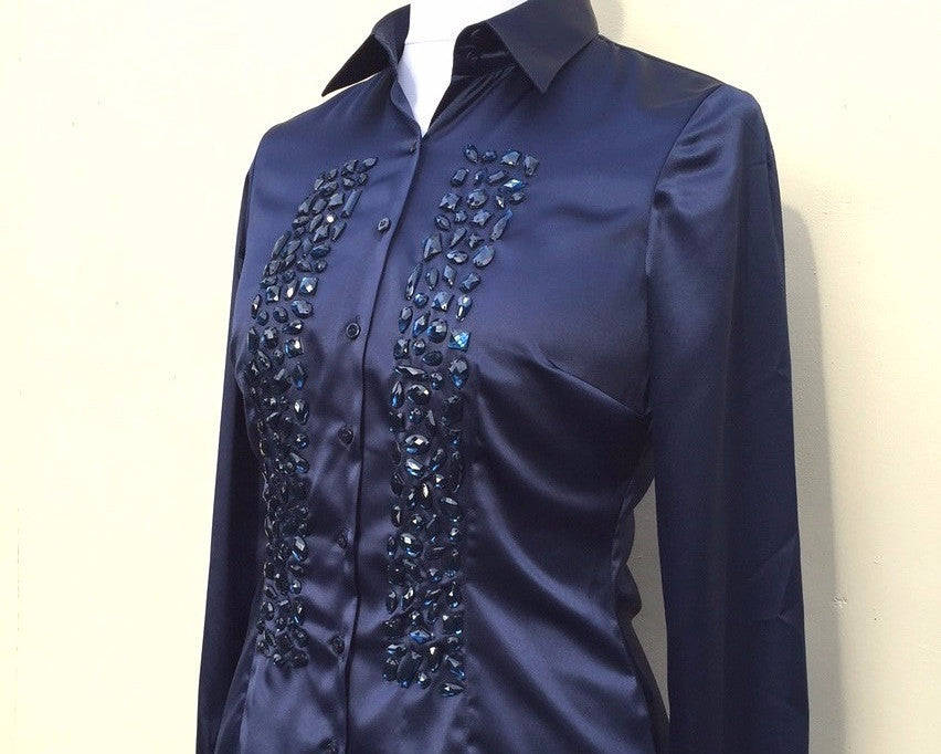 EMBROIDERED BLUE SATIN SHIRT - DOUBLE CUFF