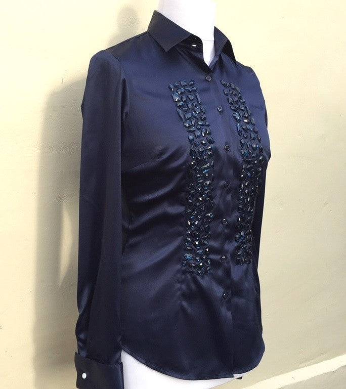 EMBROIDERED BLUE SATIN SHIRT - DOUBLE CUFF, size 12