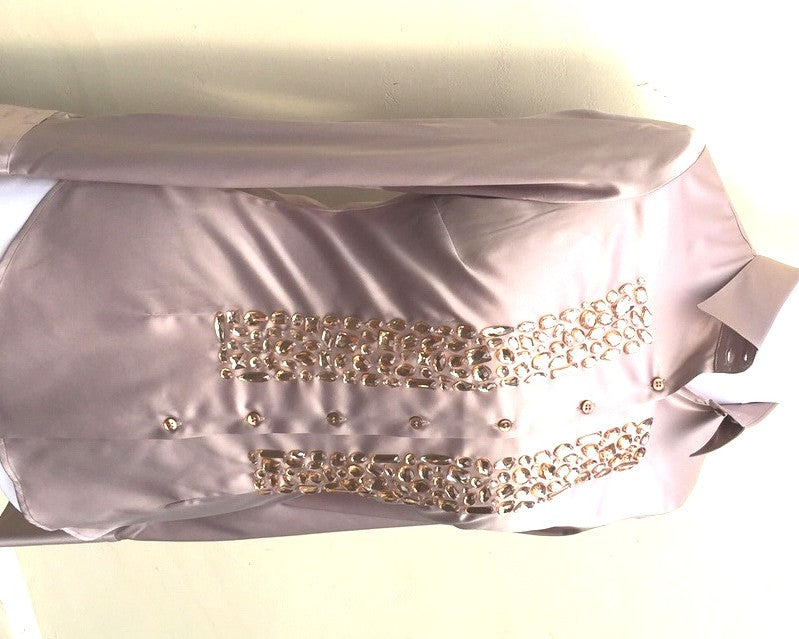 EMBROIDERED CUMIN SATIN SHIRT - DOUBLE CUFF, size 12