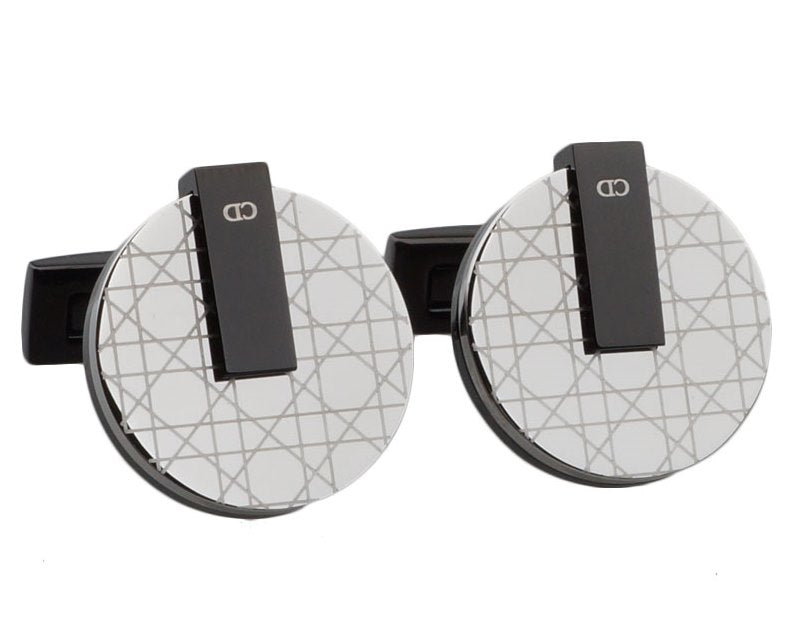 CD inspired black gun plated cufflinks