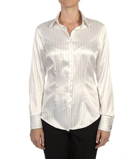 CREAM & BLACK DOT DASH SATIN SHIRT