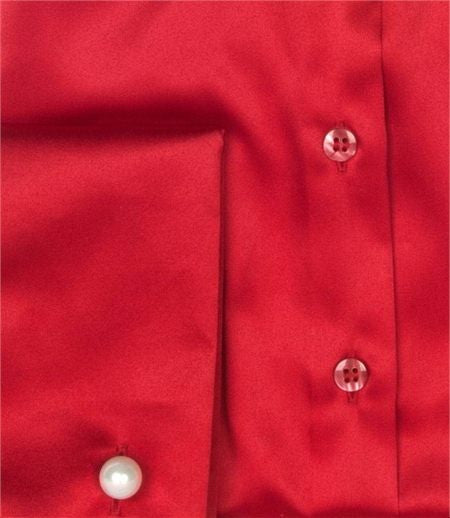 Luxury Red Satin Shirt, Double Cuff, size 14