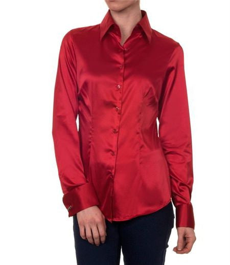 Luxury Red Satin Shirt, Double Cuff, size 10