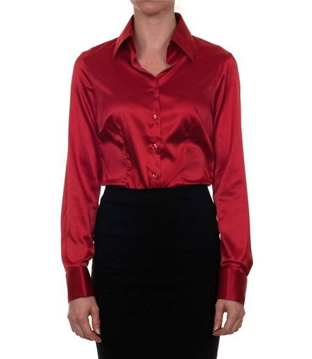 Luxury Red Satin Shirt, Double Cuff, size 12