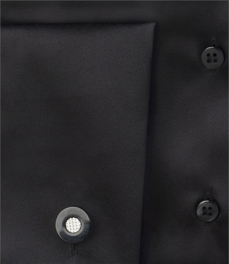 PLAIN BLACK FITTED SATIN SHIRT - DOUBLE CUFF, size 10