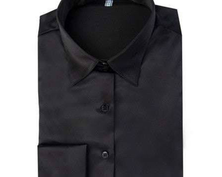 PLAIN BLACK FITTED SATIN SHIRT - DOUBLE CUFF, size 12