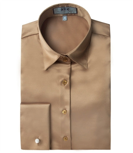 PLAIN CUMIN FITTED SATIN SHIRT - DOUBLE CUFF, size 14