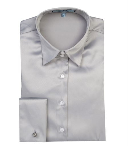 PLAIN HIGH RISE SILVER FITTED SATIN SHIRT, size 8