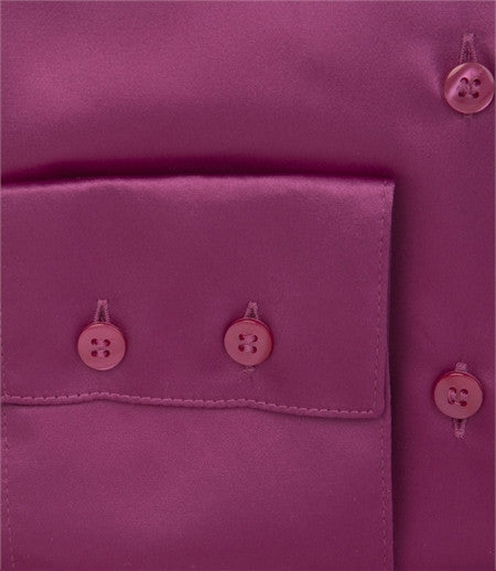 PLAIN MAGENTA SATIN SHIRT - SINGLE CUFF, size 12