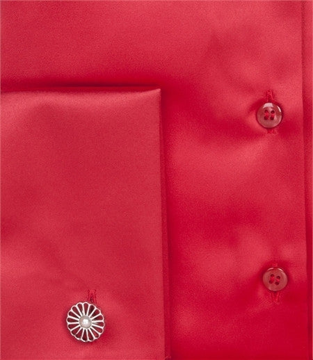 EMBROIDERED RED SATIN SHIRT - DOUBLE CUFF, size 14