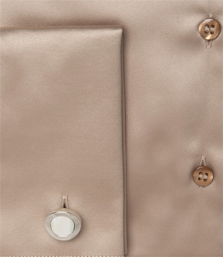 EMBROIDERED CUMIN SATIN SHIRT - DOUBLE CUFF, size 14