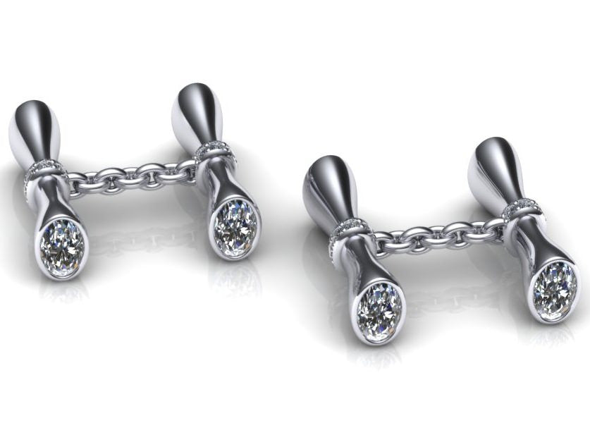 Marquise Design Diamond Cufflinks