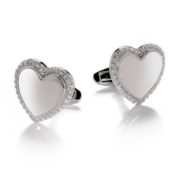 Mirror Heart silver Cufflinks