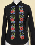HAND EMBROIDERED BLACK SHIRT - DOUBLE CUFF