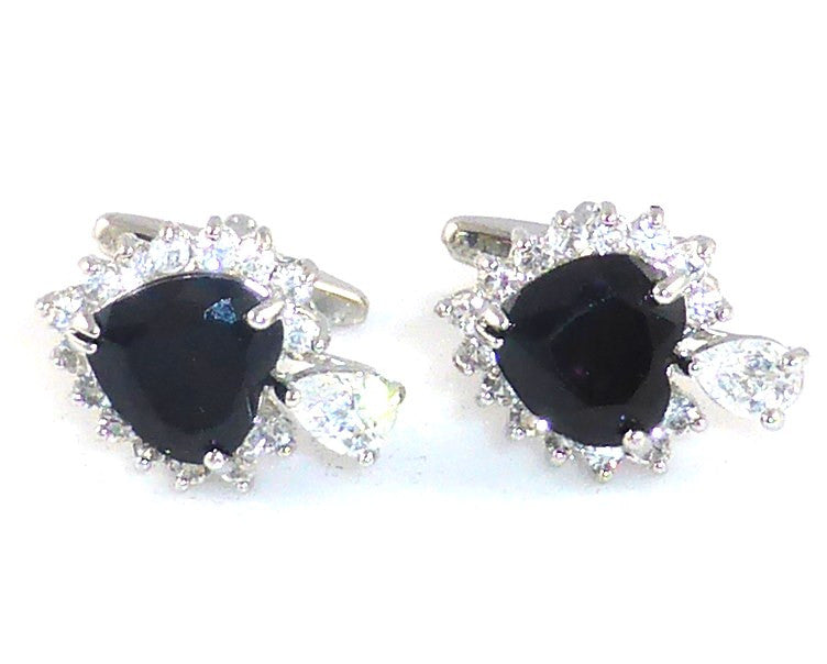 Black Sapphire Heart Cut Charms Cufflinks
