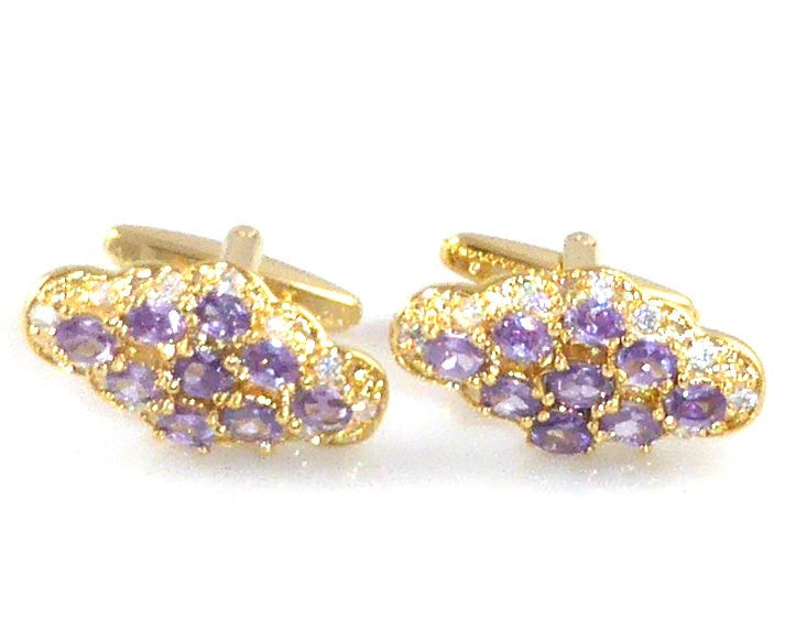 Purple Amethyst Oval Cut Charms Cufflinks