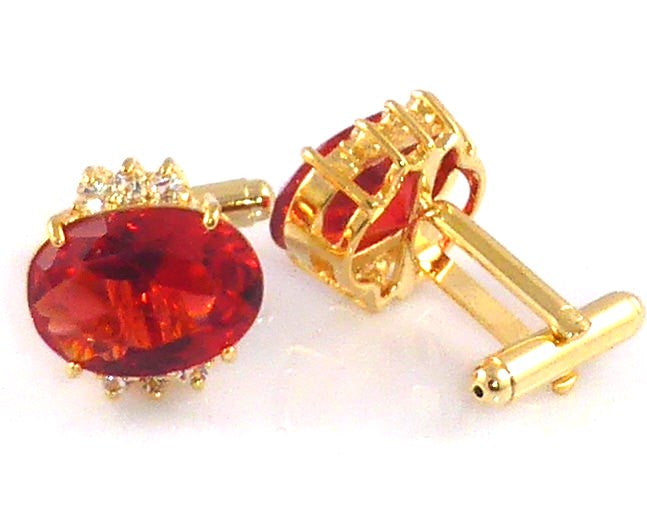 Red Garnet Ruby Oval Cut Cufflinks