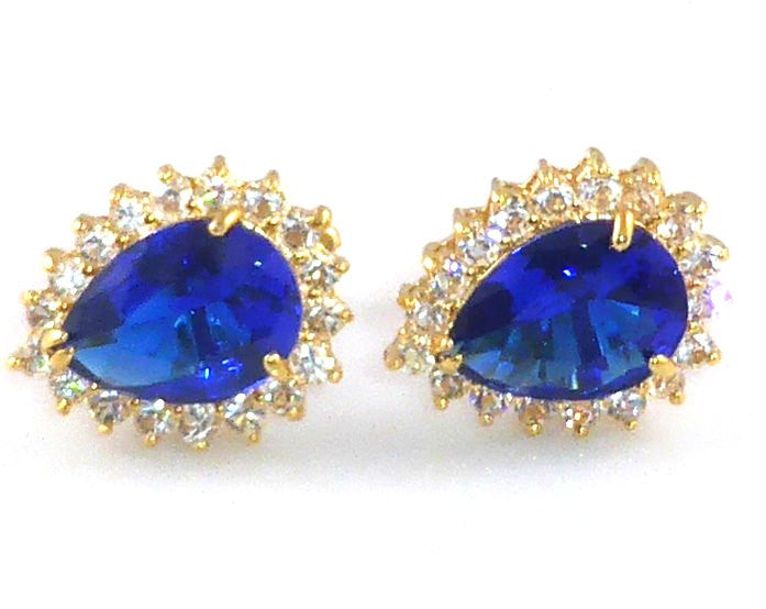 Royal Blue Sapphire Pear Cut Cufflinks