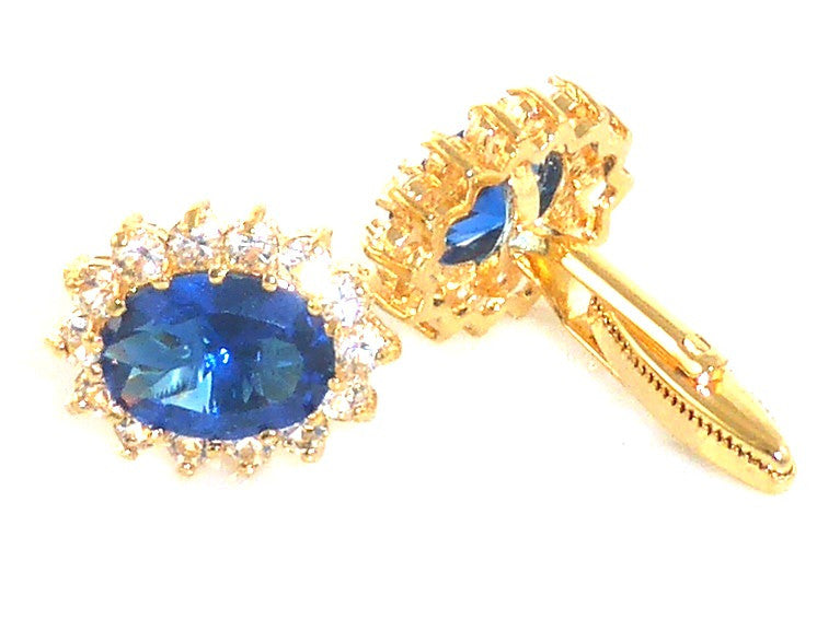 Royal Blue Sapphire Oval Cut Cufflinks