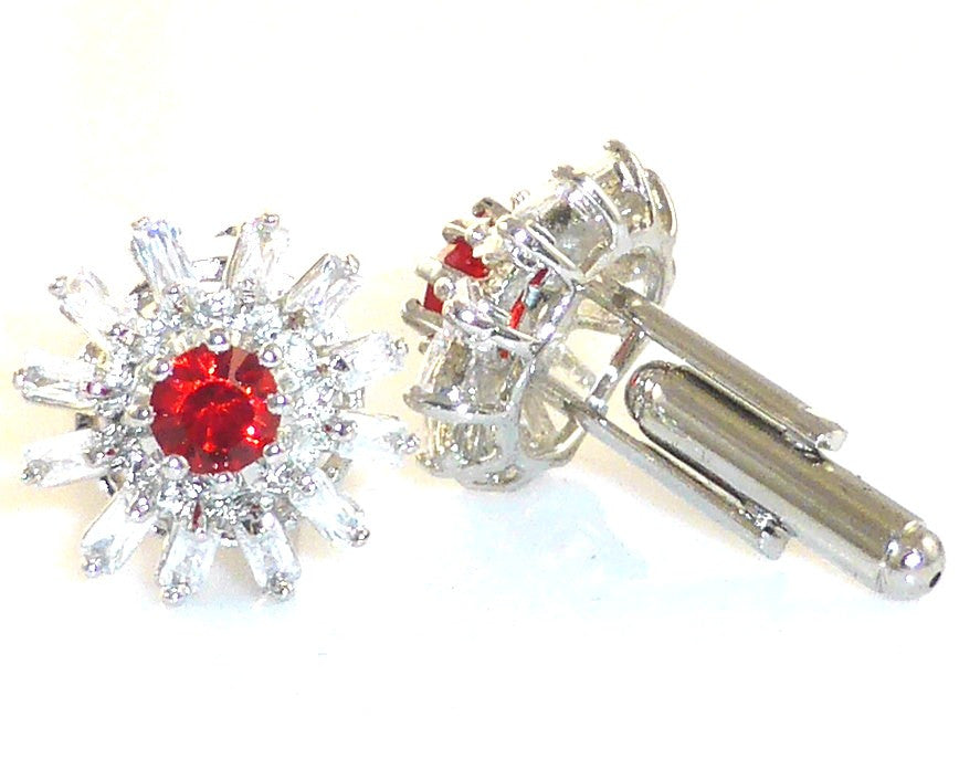 Voguish Red Ruby Topaz Round Cut Cufflinks