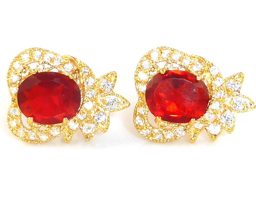 Hot Red Ruby White Topaz Cufflinks