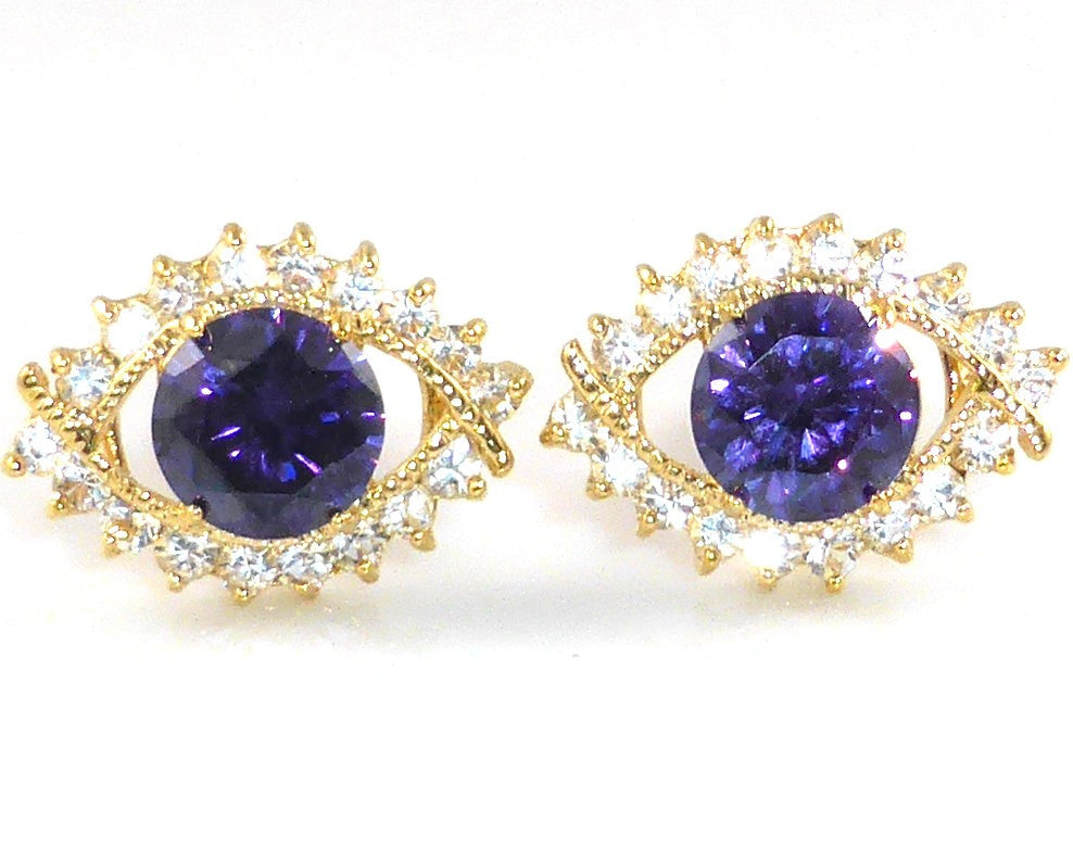 Purple Amethyst Round Cut Cufflinks
