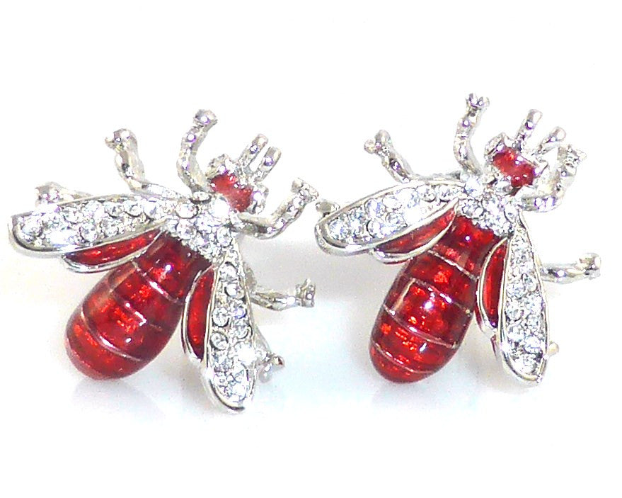 Red bee white crystal cufflinks
